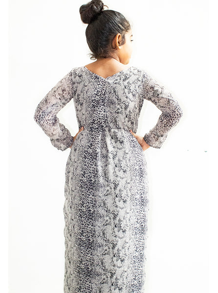 Cream full sleeve frock with black leopard pattern