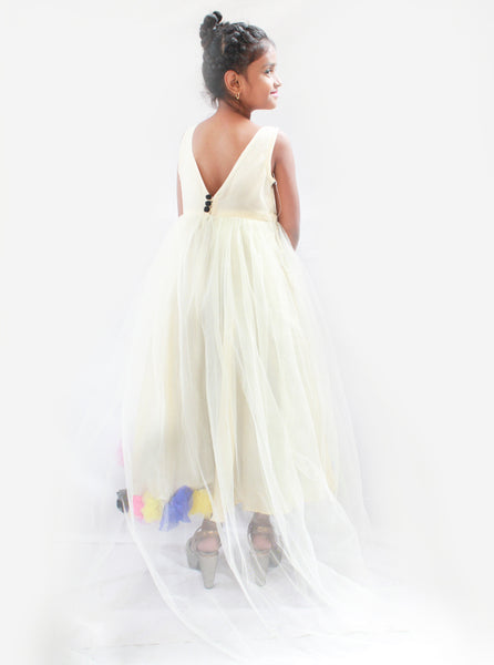Off White Evening Gown with Flowers