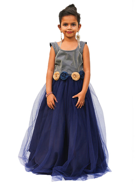 ScoopNeck Navy Blue Gown