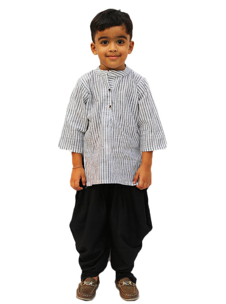 Styles White Lining Kurta With Dhoti Set