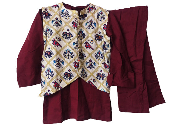 maroon-off white traditional kurti and blazer,pant