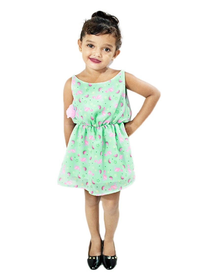 Stylish Light Green Frock with Pink Birds Print