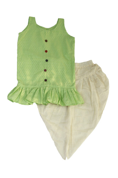 Parrot Green Cotton Dhoti And Top