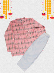 Styles Two Pocket Peach Kurta With Dhoti Set