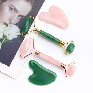 Natural Rose Quartz Jade Roller Facial + Body Massager Face Lifting Beauty Massage Tool