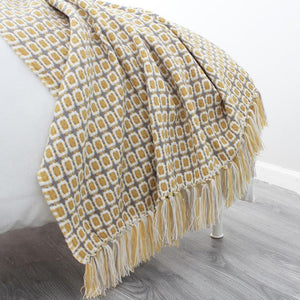 Cozy Blanket Knitted Nordic Style Retro Pattern Throw