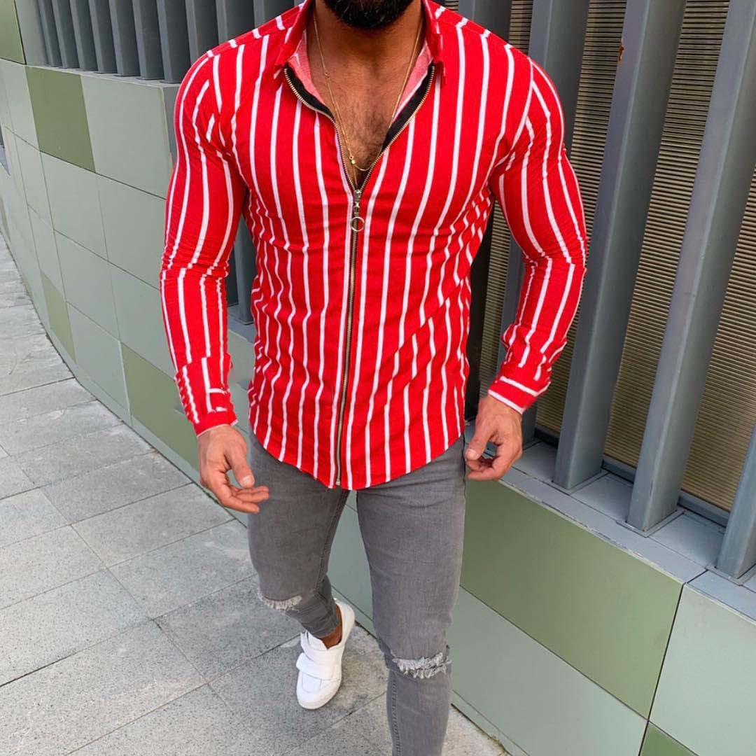 Men's 3D Long Sleeve Classic Slim Striped Shirt