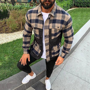 Fashion Plaid Splicing Pocket Jacket