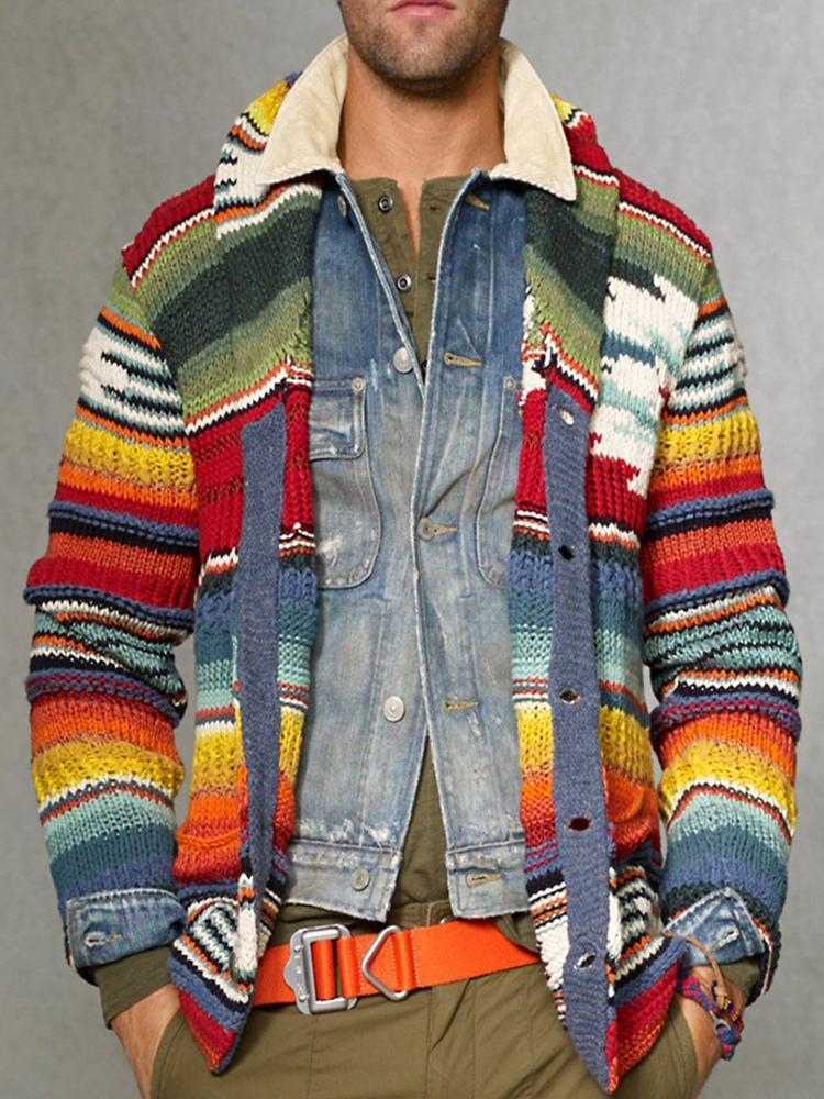 Fashion Rainbow Colorblock Knit Sweater