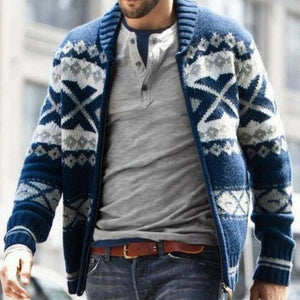 Fashion Splicing Pattern Zipper Sweater Coat