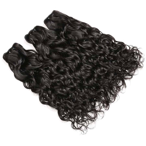 Alissa Brazilian Human Water Wave 3 Bundles With Lace Closure Hair Weave