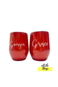 Personalized red tumbler