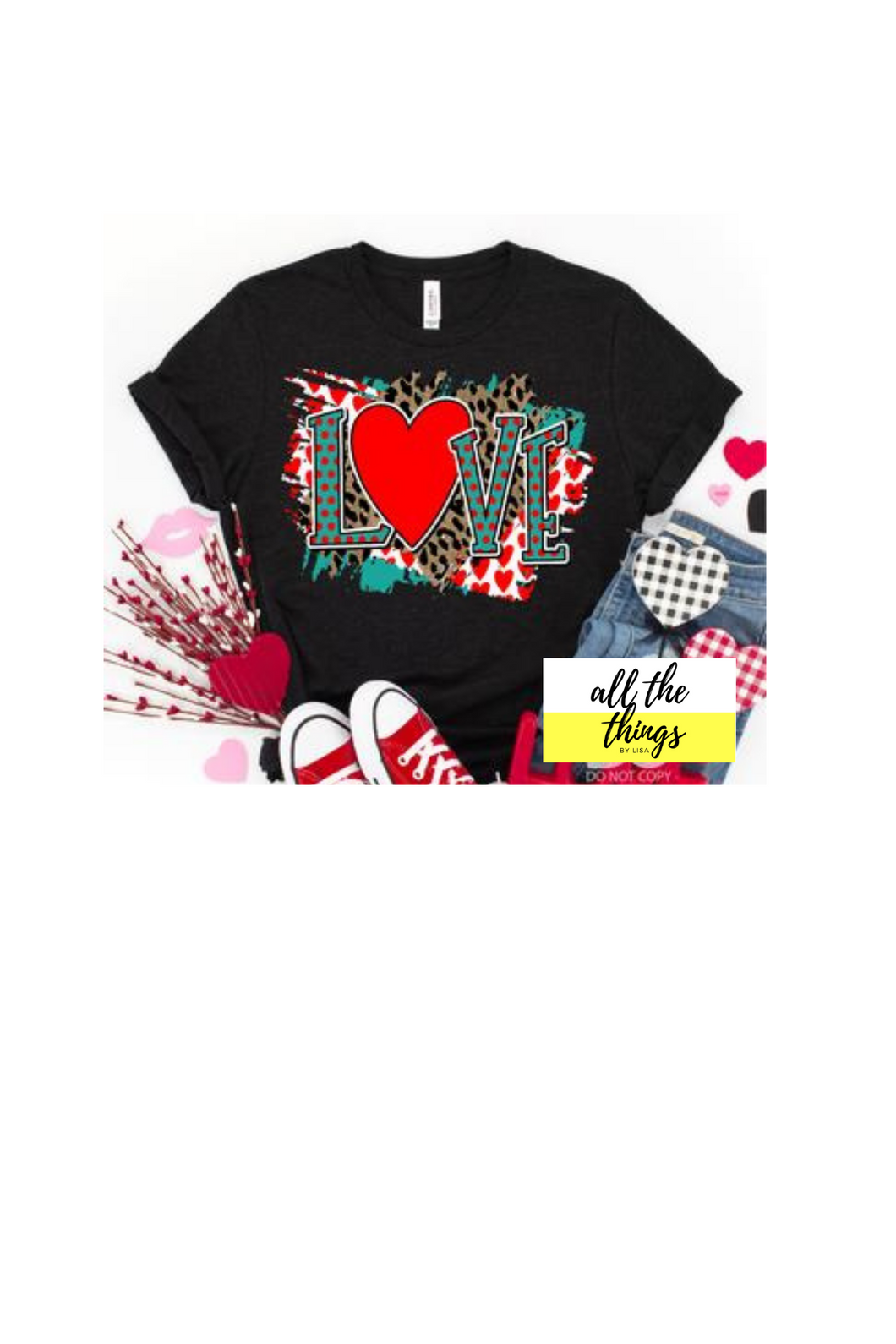 Teal and Red Love tee