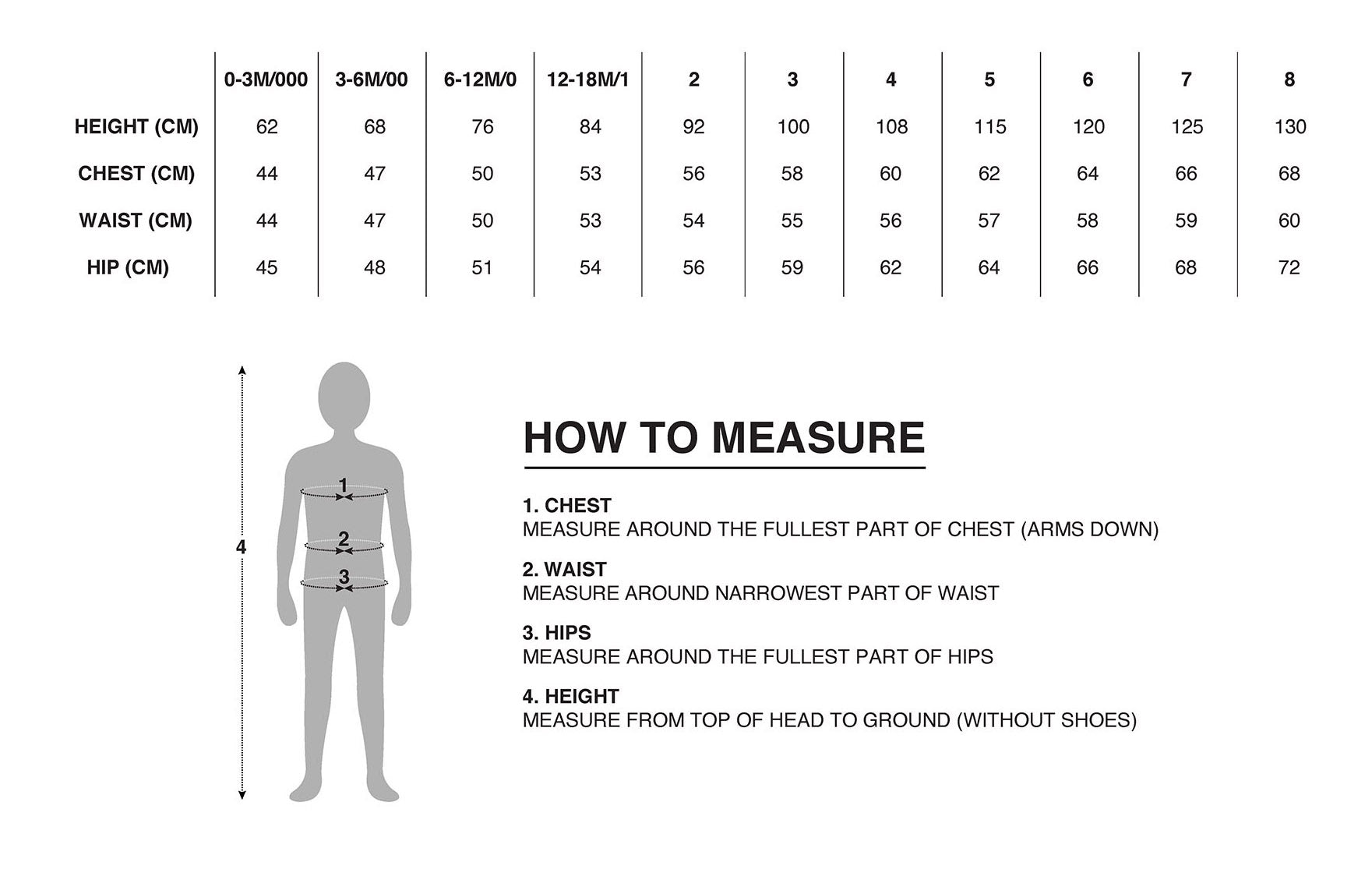 Baby & Kids Clothing Size Chart