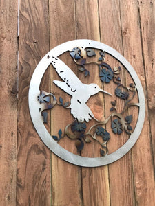 Custom metal humming bird sign