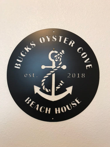 Custom metal beach oyster cove personalized sign wall art
