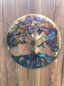 Custom metal tree of life with torch finish