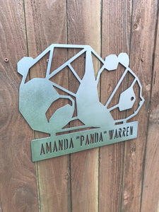 Custom metal panda personalized sign wall art