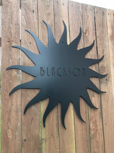 Custom metal personalized sun sign