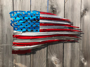Custom metal distressed american flag wall art