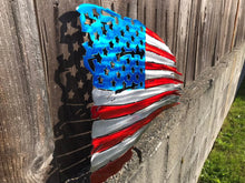 Load image into Gallery viewer, Custom metal distressed american flag wall art