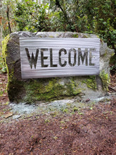 Load image into Gallery viewer, Custom metal welcome sign personalize rock sign
