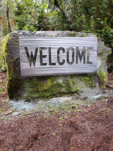 Custom metal welcome sign personalize rock sign