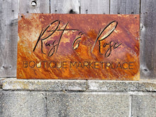 Load image into Gallery viewer, Custom metal rustic business sign personalized