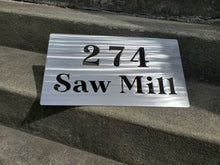 Load image into Gallery viewer, Custom metal rock address sign plaque house numbers