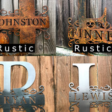 Load image into Gallery viewer, Custom metal split monogram personalized family sign