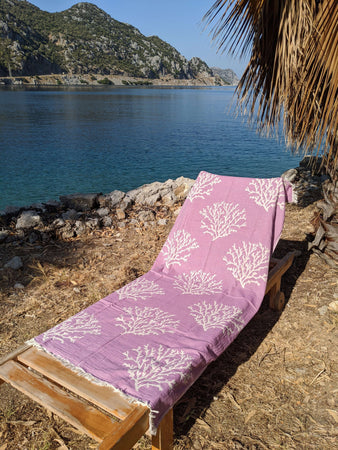 100% Cotton Coral Beach Towel - Hittite Home