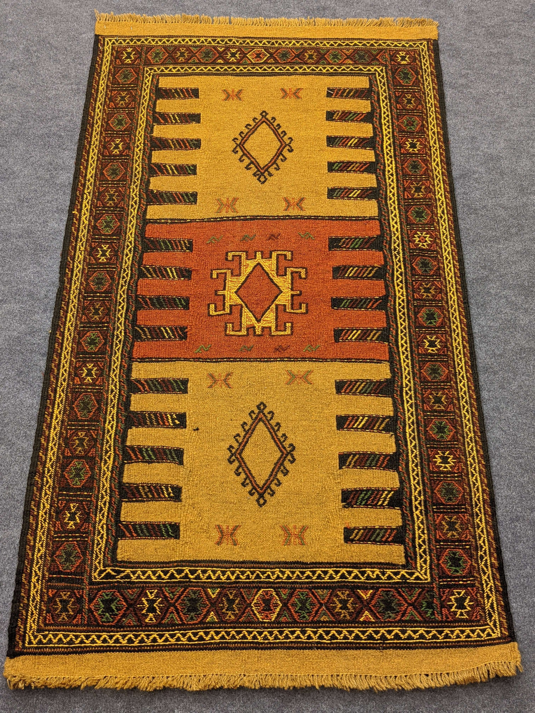 Ancient Geometric Hittite Design Rug with Leather - Hittite Home