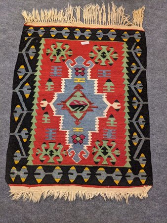 Black, Red and Green Rug with Anatolian Motifs - Hittite Home