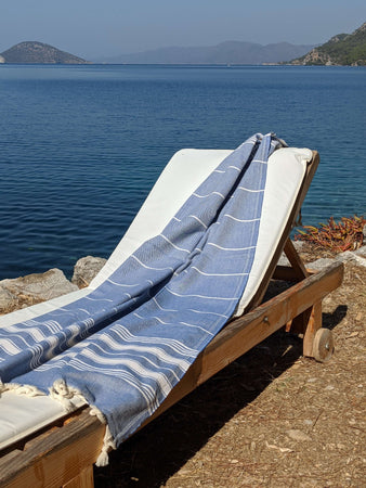 Blue Throw / Beach Towel 100% Cotton - Hittite Home