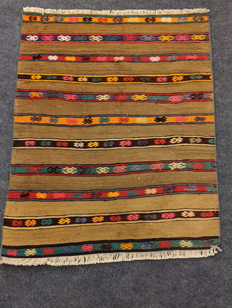 Camel Striped Antique Rug with Geometric Colourful Patterns - Hittite Home