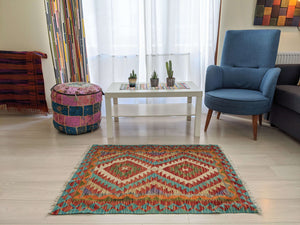 Cotton and Wool Diamond Red and Blue Rug - Hittite Home