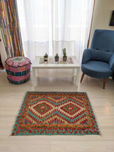 Load image into Gallery viewer, Cotton and Wool Diamond Red and Blue Rug - Hittite Home