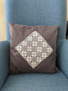Crochet Lace Grey Cushion Signature Design, Set of 2 - Hittite Home