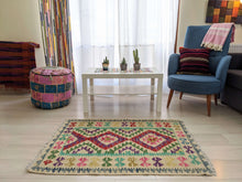 Load image into Gallery viewer, Diamond Purple, Red, Green Cotton & Wool Rug - Hittite Home