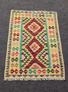 Diamond Purple, Red, Green Cotton & Wool Rug - Hittite Home