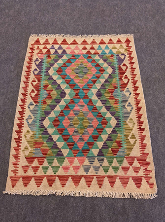 Geometric Kilim Rug Wool on Cotton Blue, Pink, Red - Hittite Home
