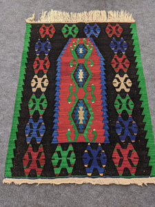Green, Red, Blue Small Antique Rug - Hittite Home