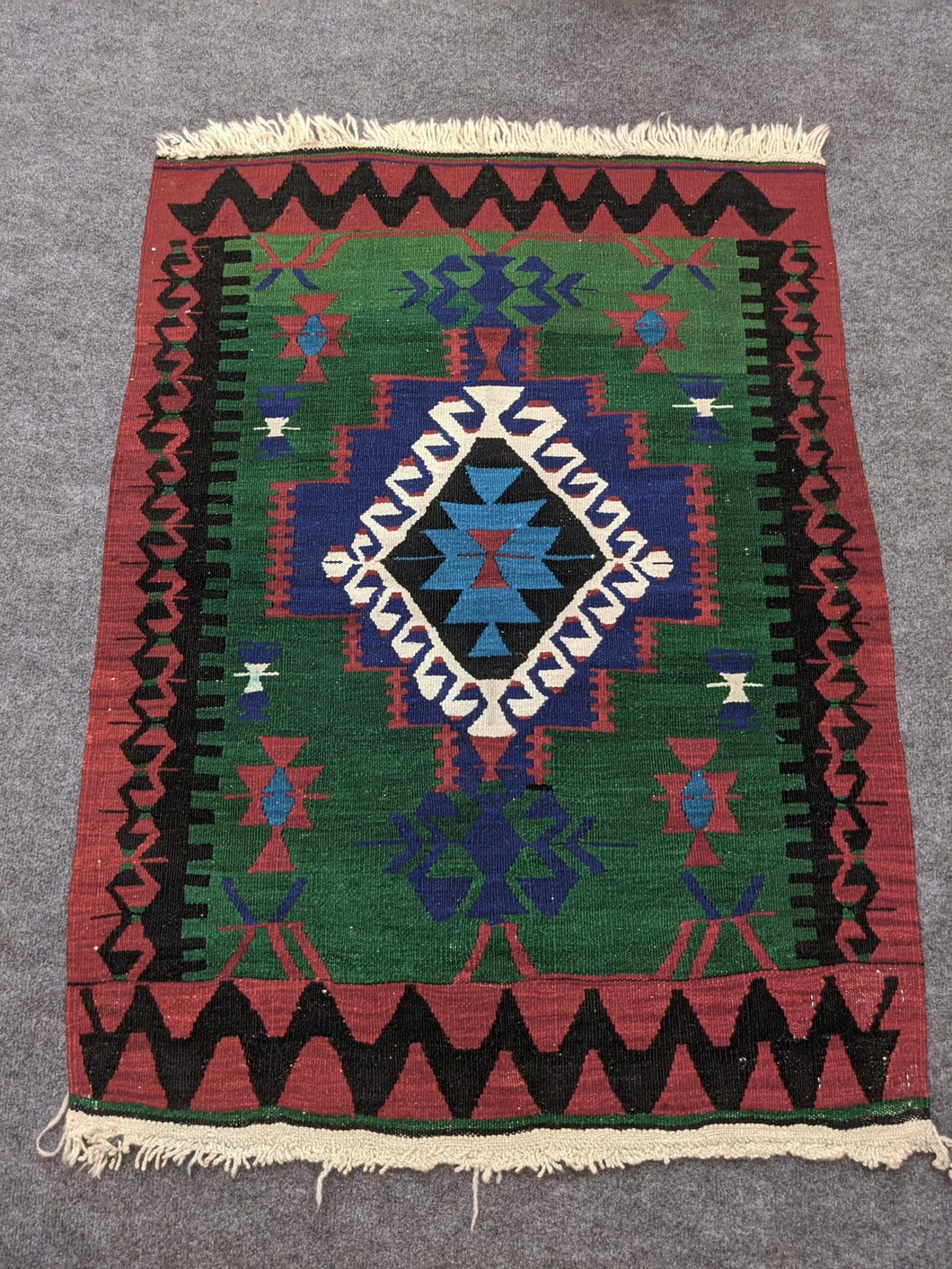 Handwoven Green, Red Antique Wool Rug - Hittite Home