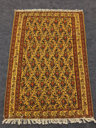 Handwoven Wool Rug with Rose Motifs - Hittite Home