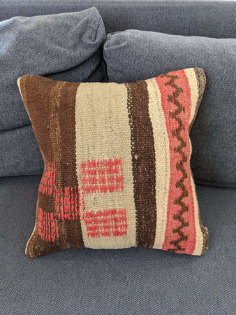 Pink & Brown Cushion - Hittite Home