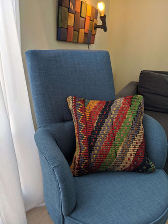 Recycled Rug Pillow with Zig Zag Motifs - Hittite Home