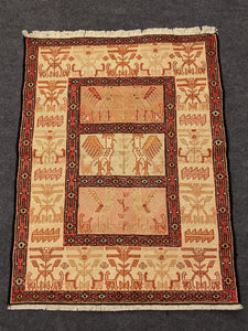 Silk Persian Rug with Rooster - Hittite Home