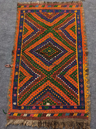 Vivid Orange, Green and Dark Blue Antique Rug - Hittite Home
