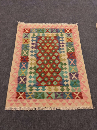 Wool Cotton Rug with Kilim Designs, Pink - Hittite Home
