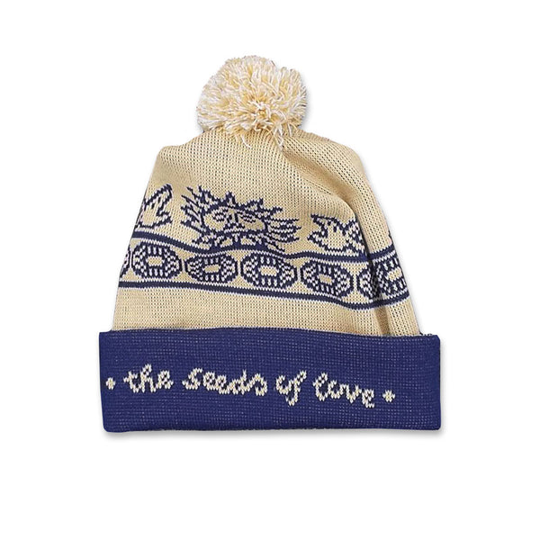 SEEDS OF LOVE WOVEN BLUE BOBBLE HAT